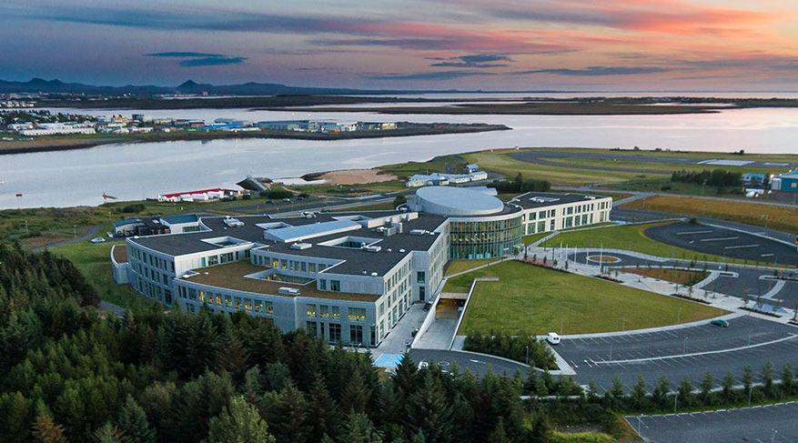 Reykjavik University at sunset, looking over Nautholsvik bay