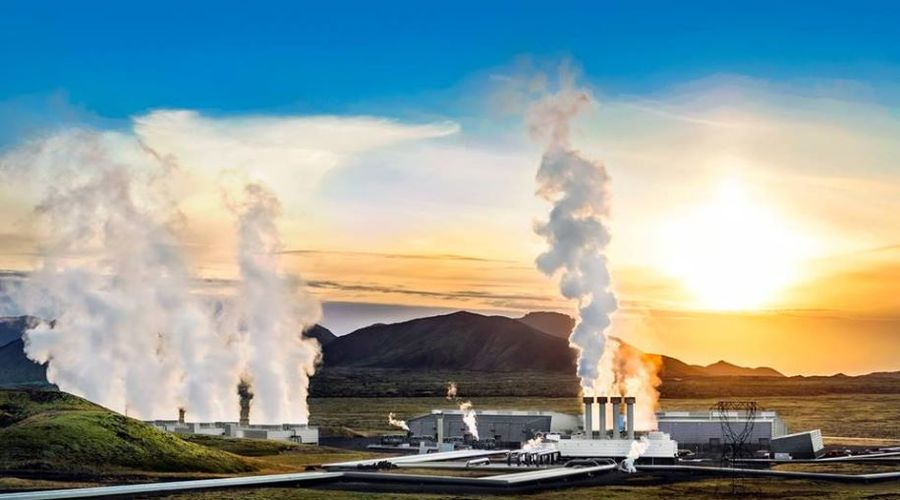 A geothermal powerplant in Iceland