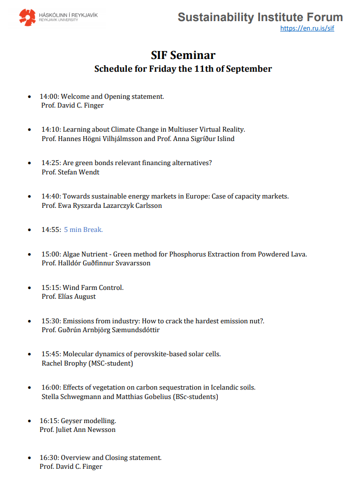 SIF Seminar schedule for Friday the 11th of September