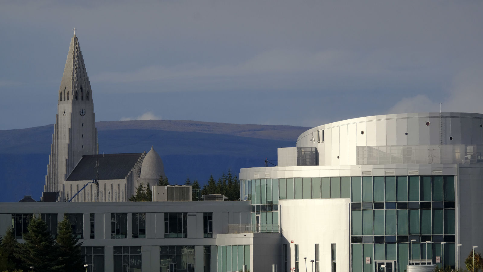 Reykjavik University campus with Hallgrímskirkja in the background
